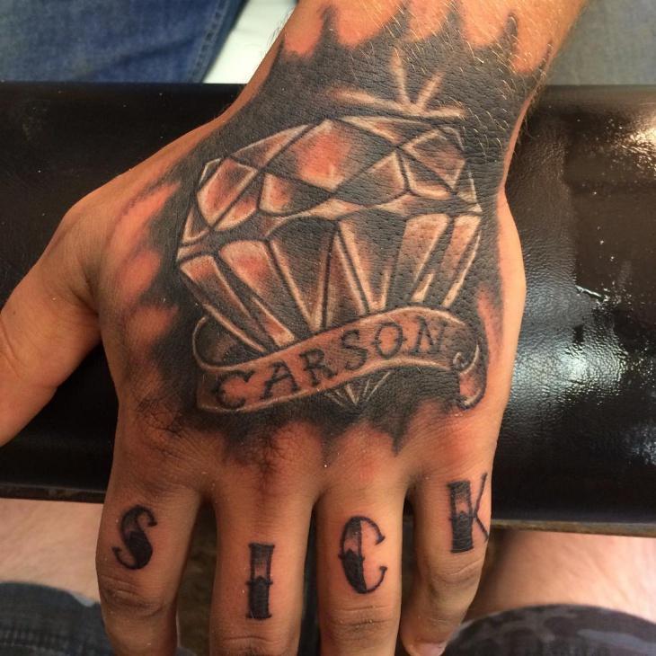 3D Dimond Hand Tattoo