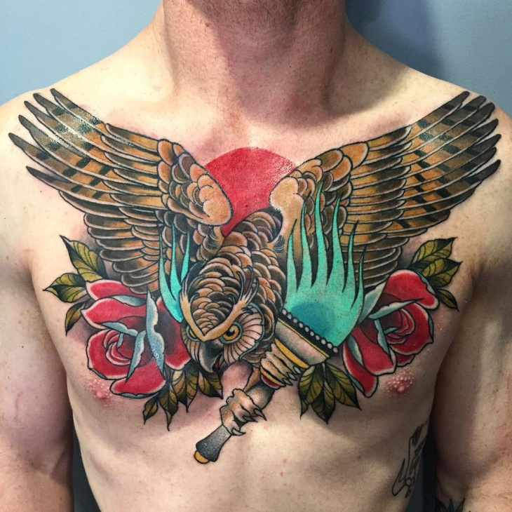 traditional owl chest tattoo