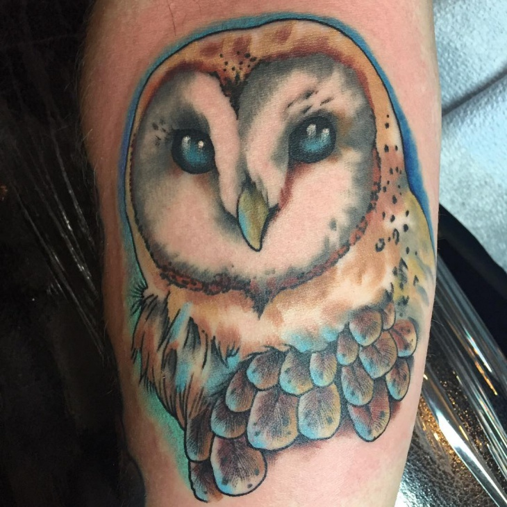 barn owl face tattoo design