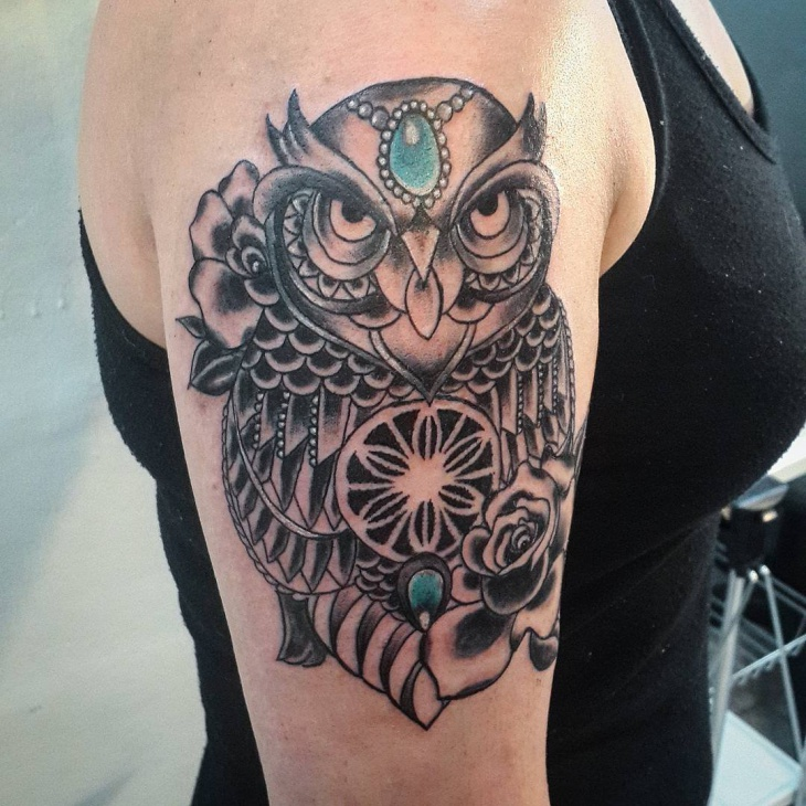 Girl Owl Sleeve Tattoo