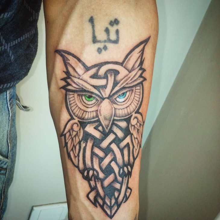 celtic owl tattoo for men