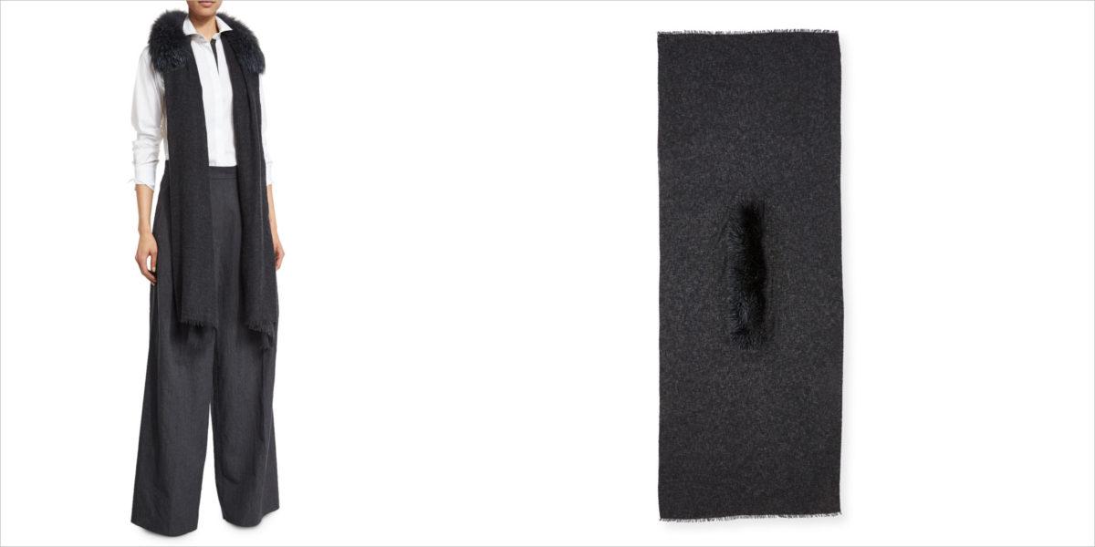 brunello-cucinelli-cashmere-fox-trim-scarf
