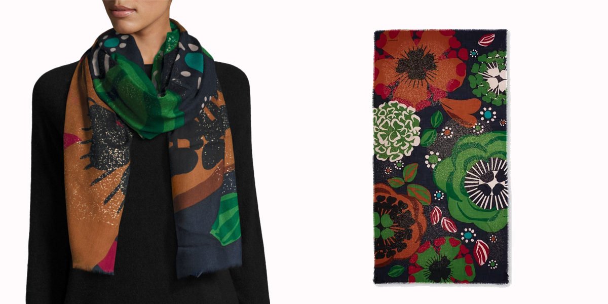 burberry metallic floral cashmere scarf
