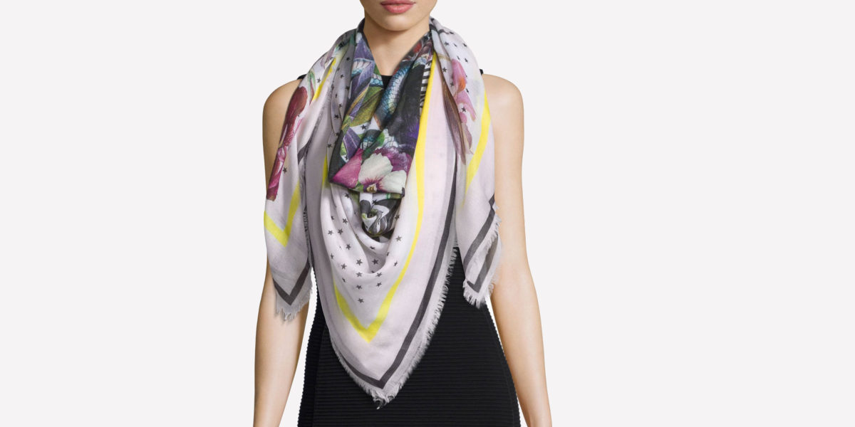 givenchy square floral bouquet star print cashmere scarf