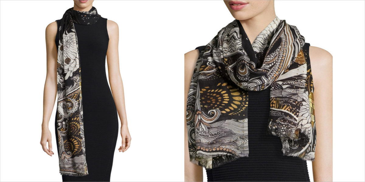 roberto-cavalli-studded-printed-cashmere-scarf