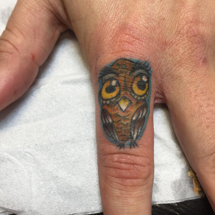 Cartoon Girly Owl Tattoo