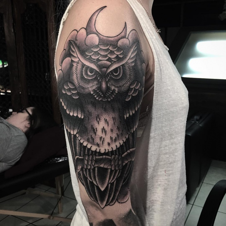 Gothic Owl Tattoo on Sleeve