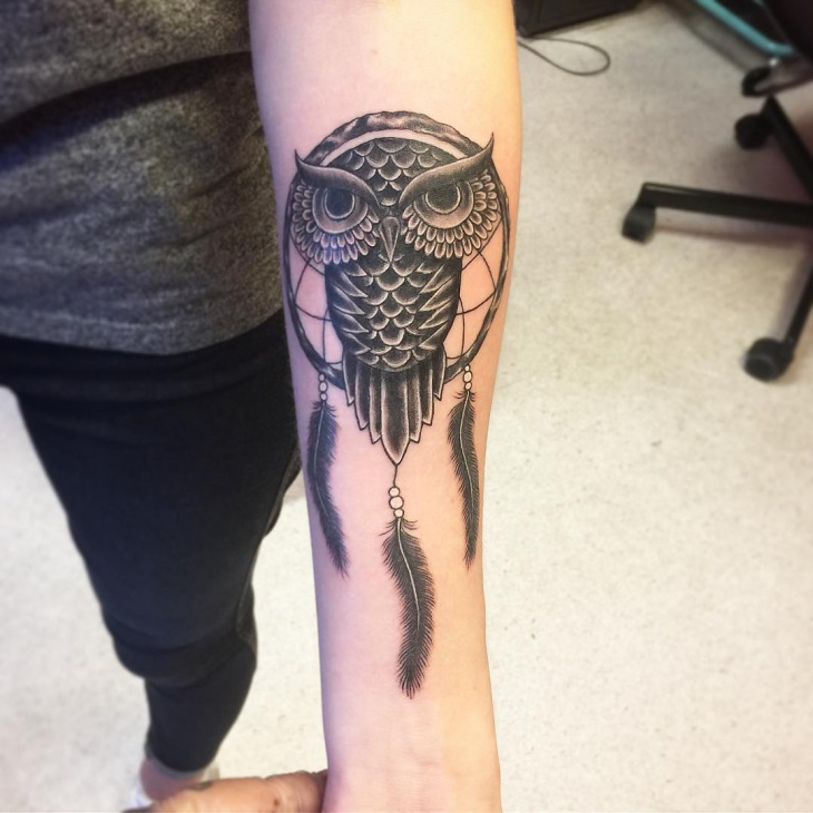 Gothic Owl Tattoo on Forearm