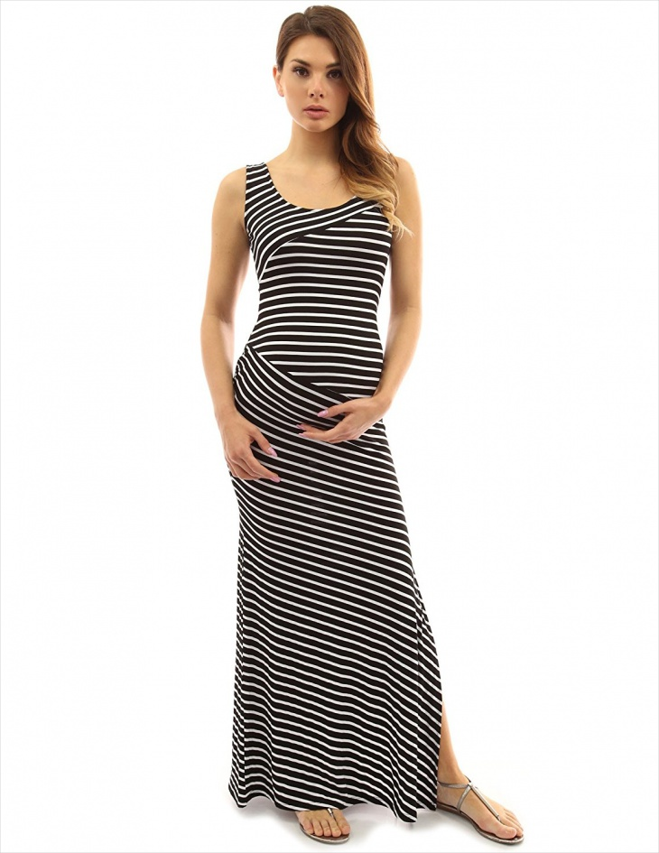 black and white striped maxi dress1