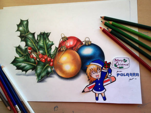 Happy Christmas Colored Pencil Drawing