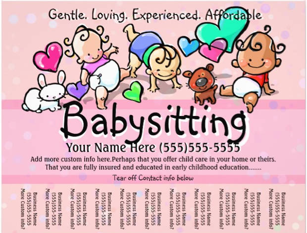 colorful printable babysitting flyer
