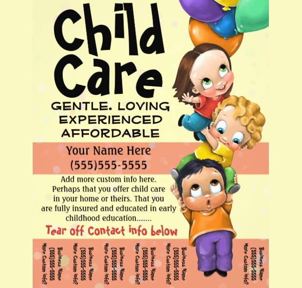 tear off babysitting care flyer