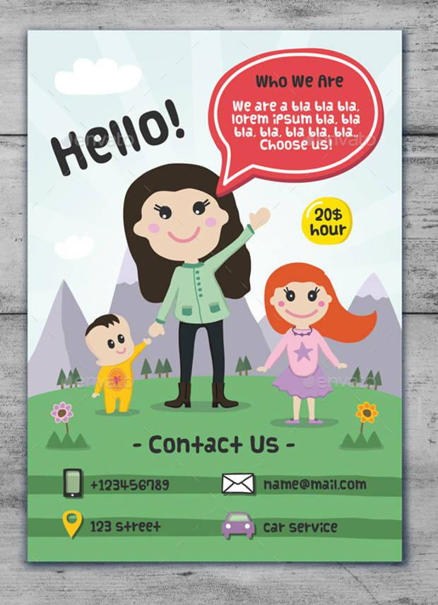 cute baby sitting cartoon flyer