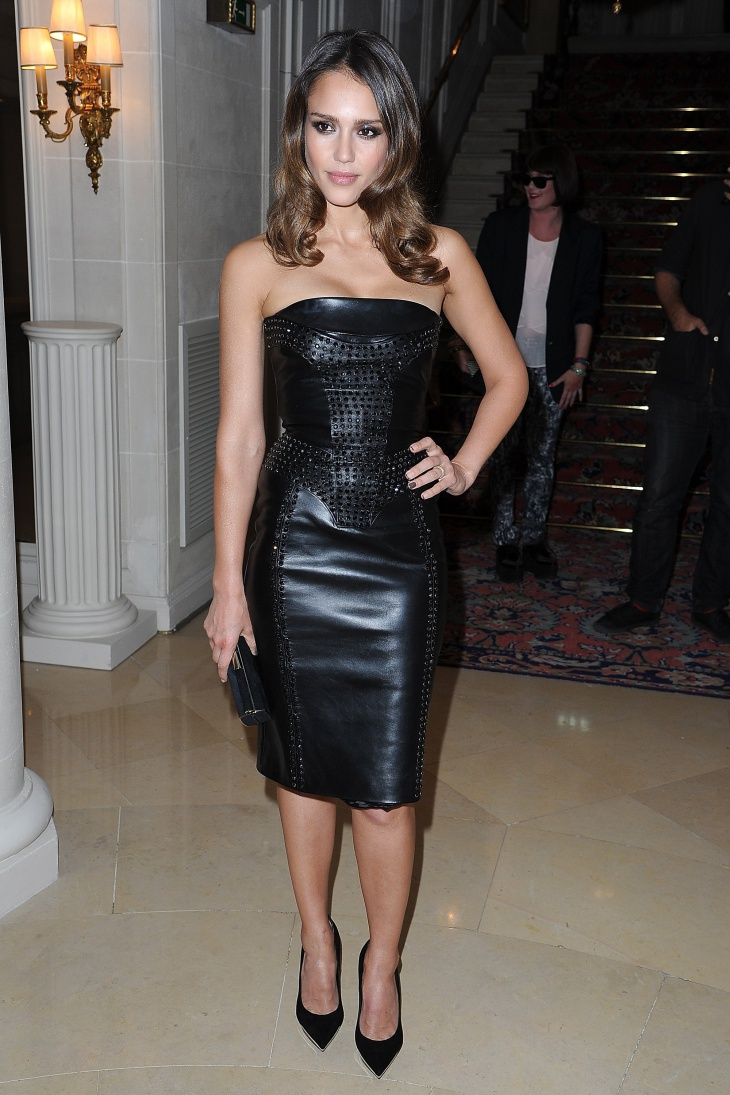 black strapless leather dress