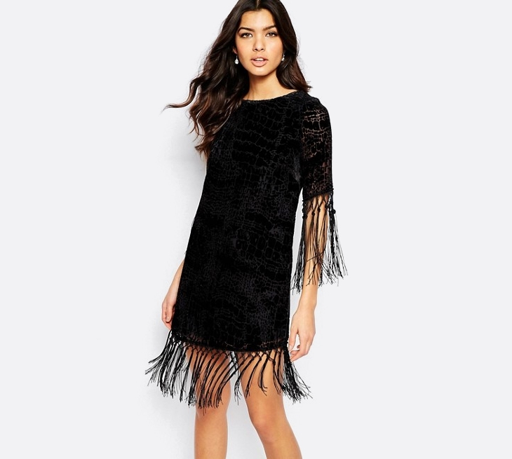 black tiered fringe dress