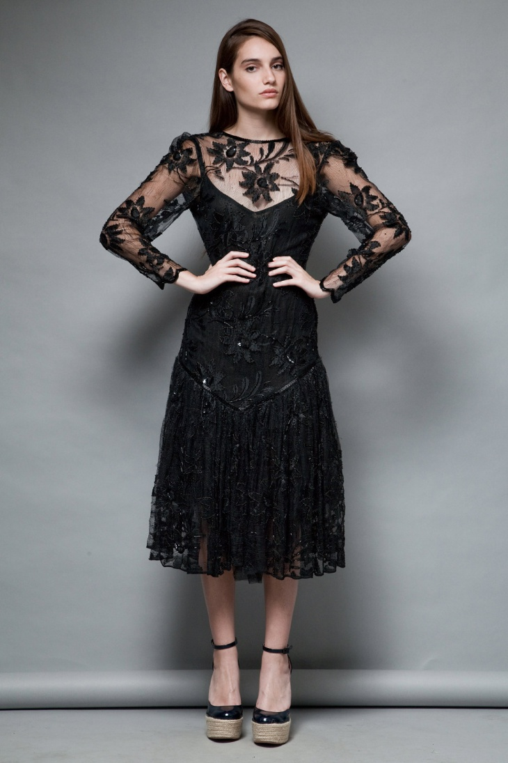 floral lace black dress
