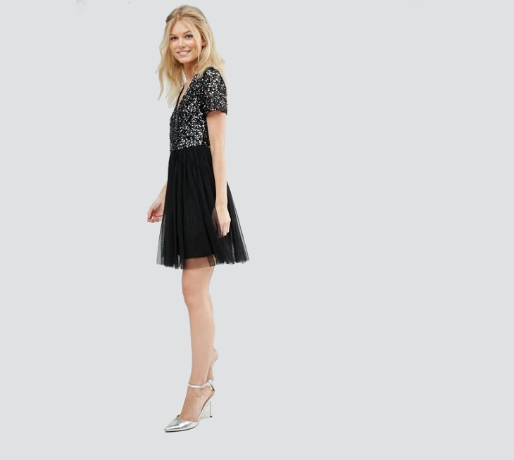black sequin tulle dress