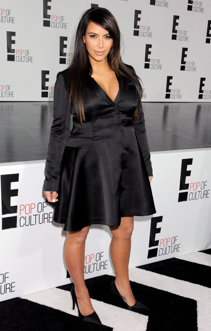 kim kardashian black satin blazer dress