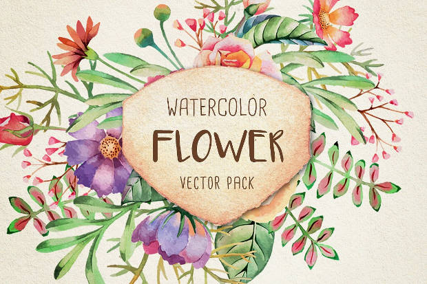DIY Watercolor Flower Vector