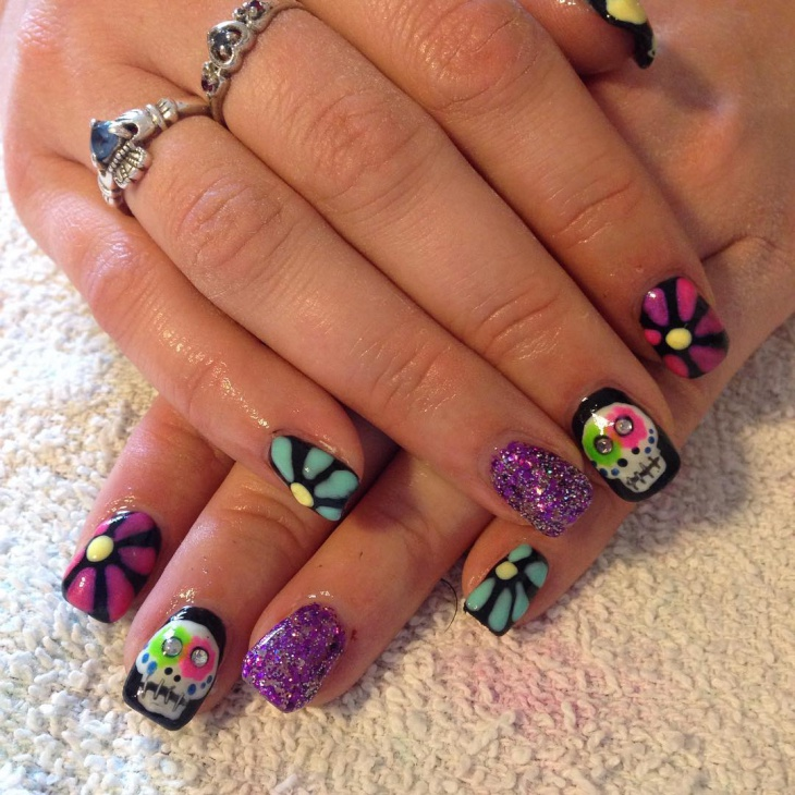 Colorful Sugar Skull Nails