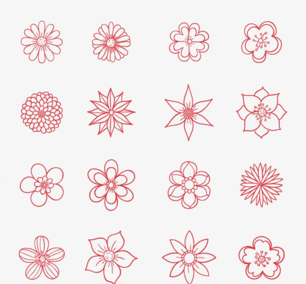 Hand Drawn Red Flower Vector