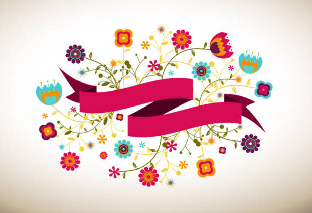 Cartoon Flower Ribbon Vector