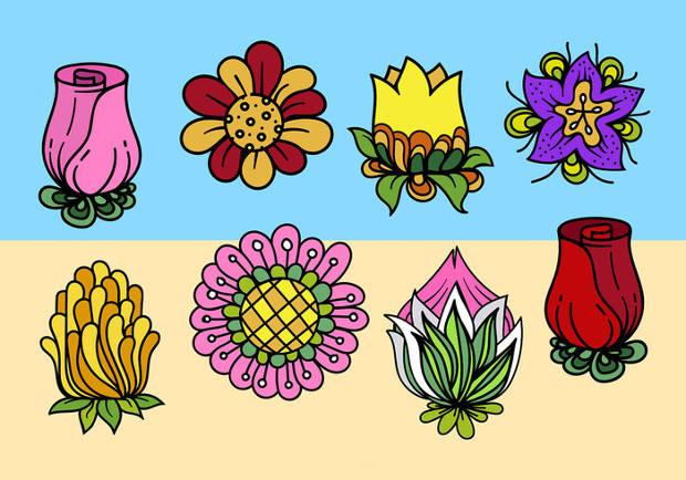 Cartoon Cute Flower Vector