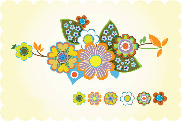 Colorful Vintage Flower Vector