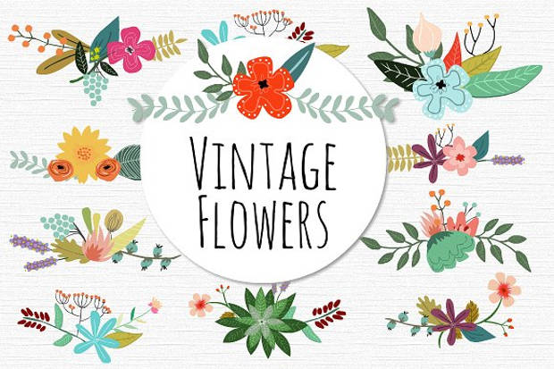 vintage spring flower vector