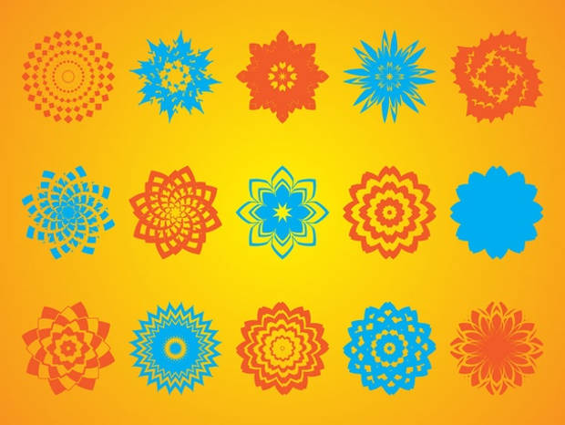 Geometric Flower Shapes Vector