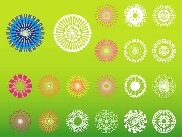 Geometric Round Flower Vector