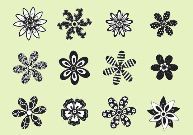 Decorative Balck and White Flower Vector