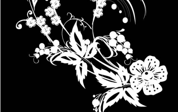 Free Black and White Flower Vector