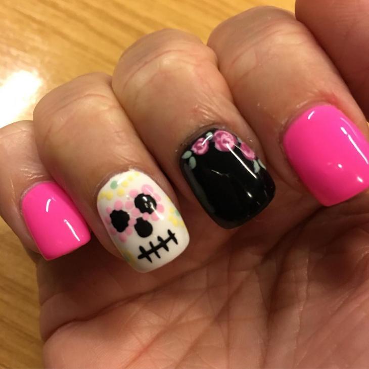 pink glitter sugar skull nails