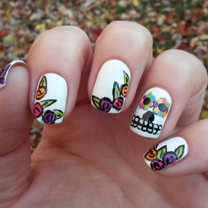 rose painted skull nail art
