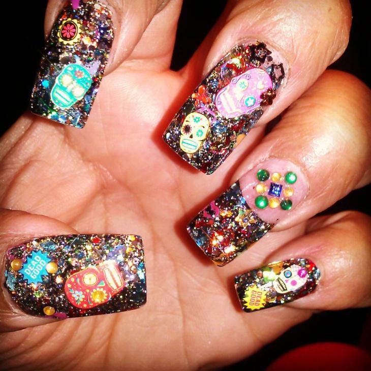 3d sugar skull nail art