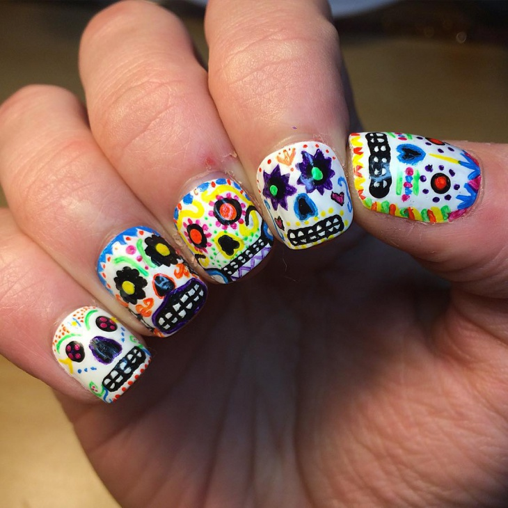 Awesome Sugar Skull Nail Art