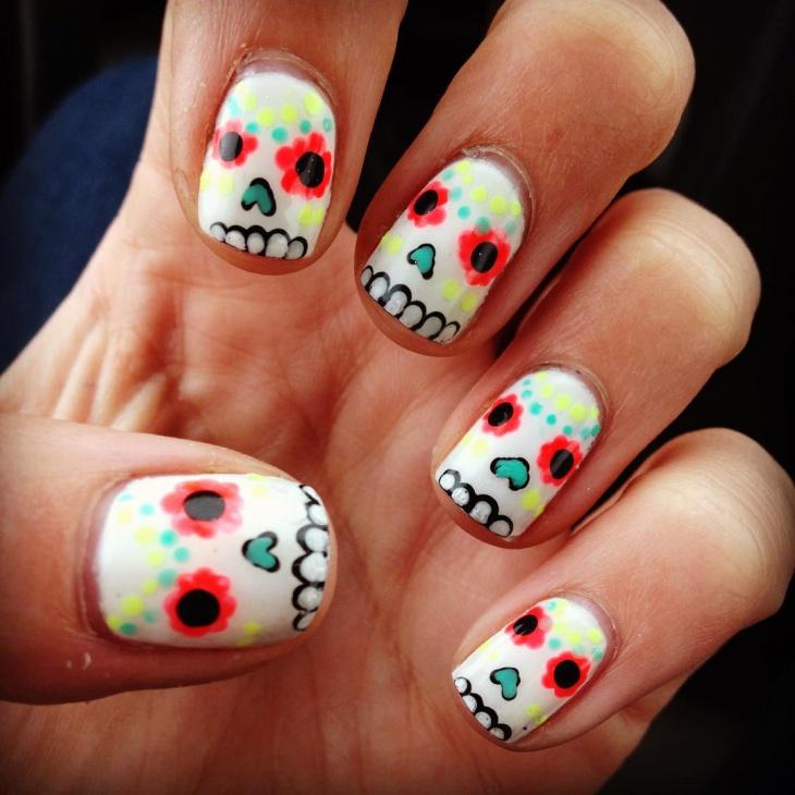 funny sugar skull nail design