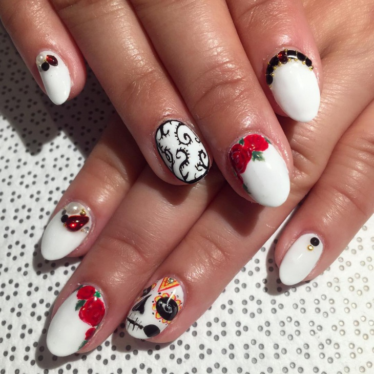 Cute Sugar Skull Nail Art