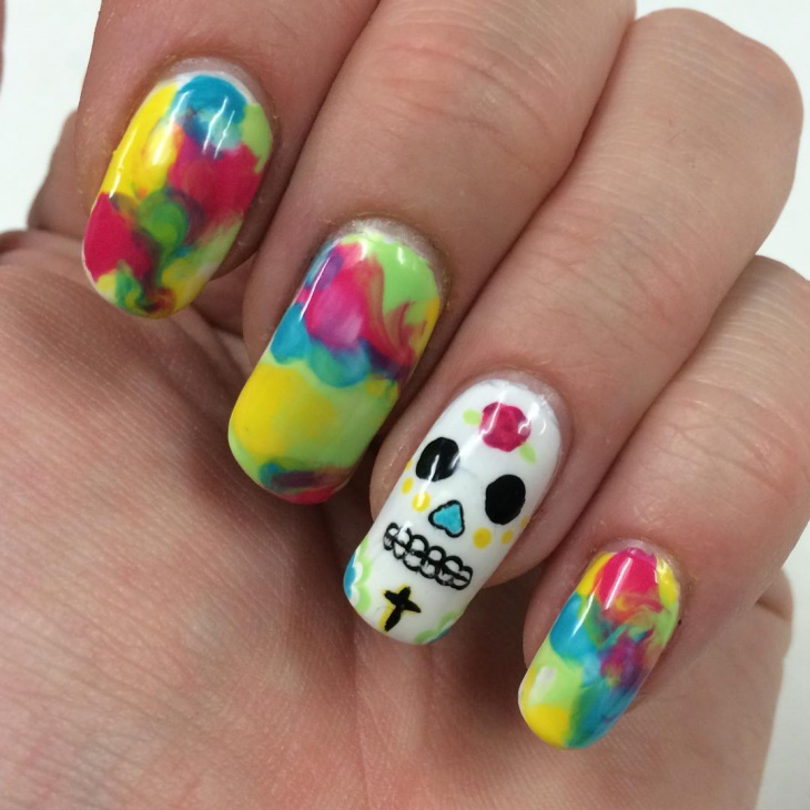 Multi Colored Skull Nails