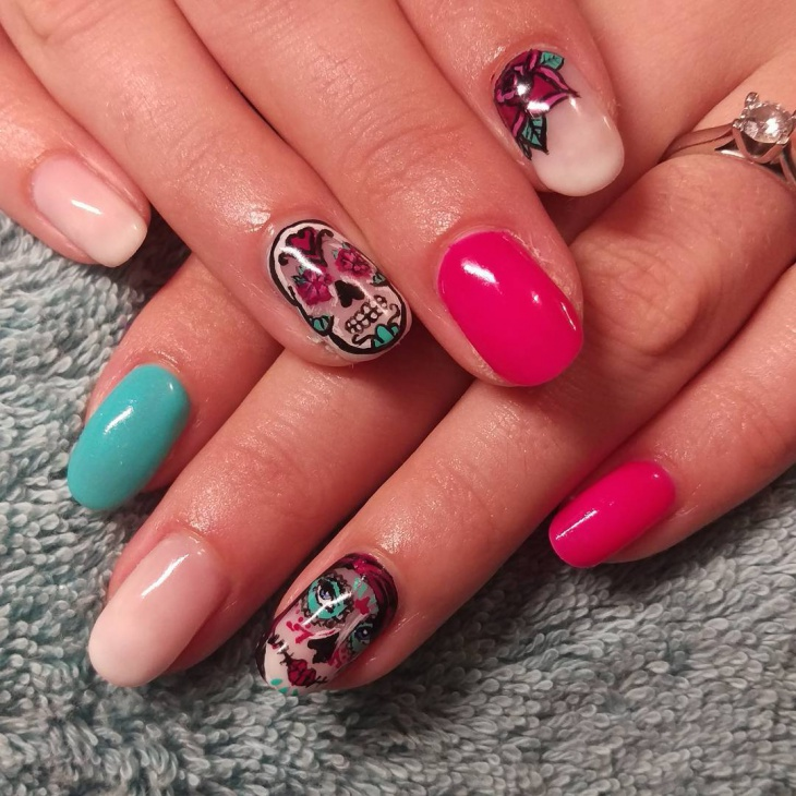 Gorgeous Sugar Skull Nail Design