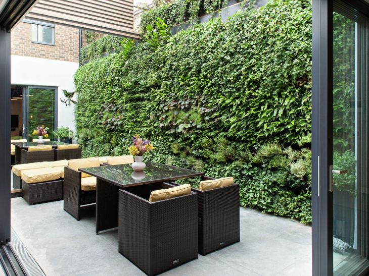 Vertical Garden with Furnished Idea