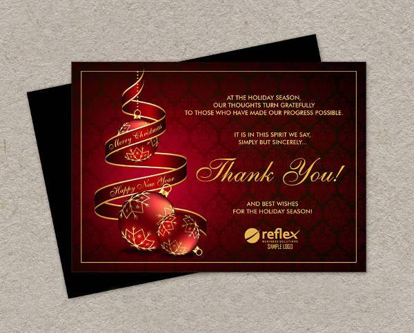 Business Christmas Holiday Thank You Card