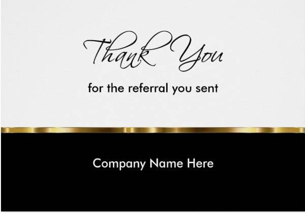 Classy Business Referral Thank You Card