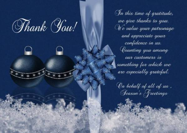 Business Christmas Season Thank You Card