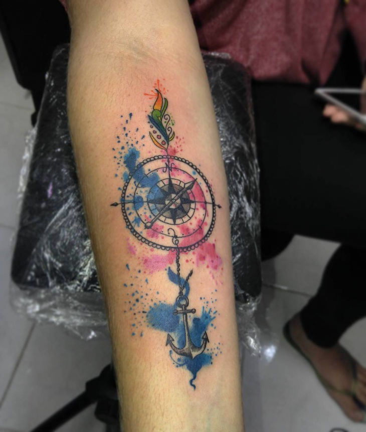 Compass and Anchor Tattoo for Men