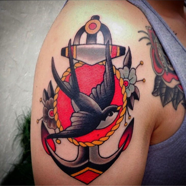 Colorful Anchor Tattoo on Sleeve