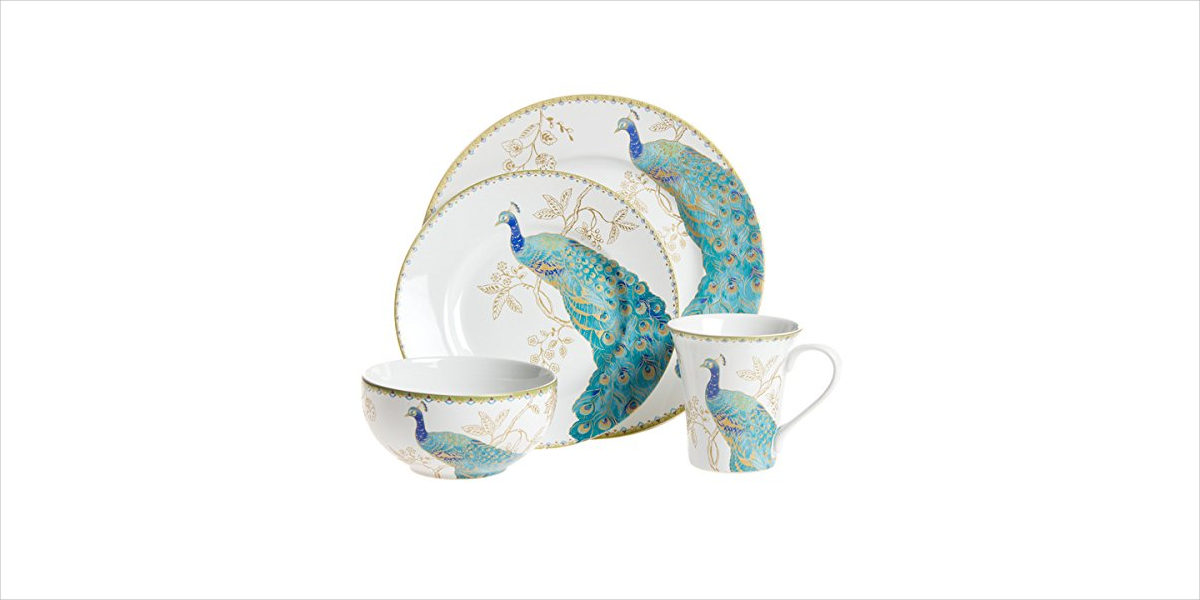 peacock themed 16 piece dinnerware set