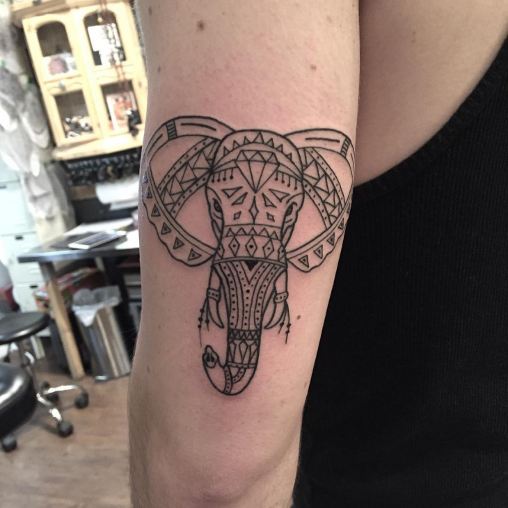 Elephant Tattoo on Upper Arm