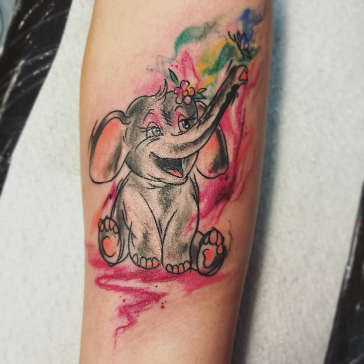 Cute Cartoon Elephant Tattoo